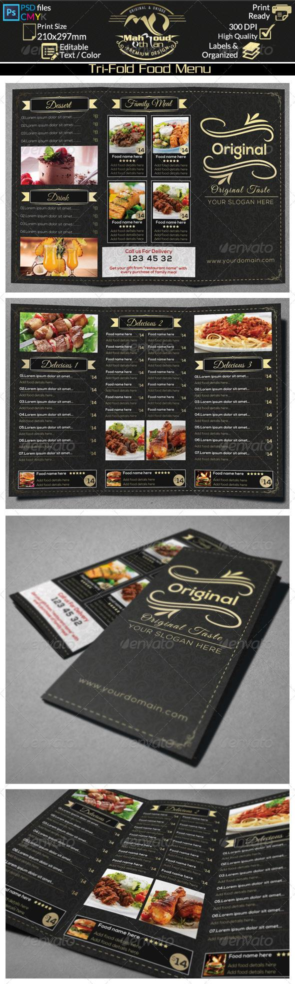 Restaurant Food Menu Trifold Food Menu Food Menu Template Restaurant Menu Design