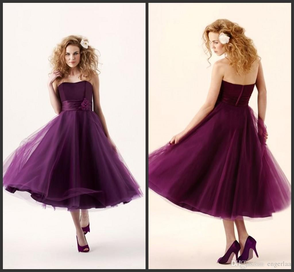 Short purple wedding dresses   Short Purple A Line Bridesmaid Dresses Strapless Neckline