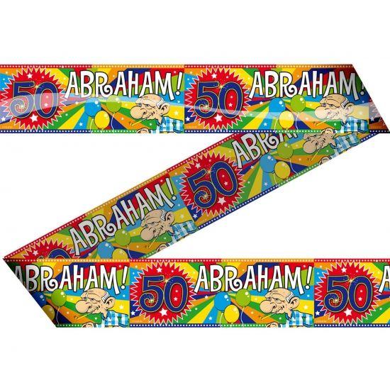 Abraham 50 jaar markeerlint 15 meter. Feestlijk markeerlint met daarop Abraham 50 jaar!