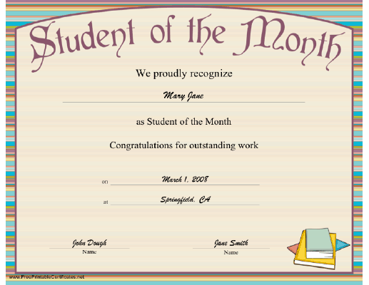 a striped printable certificate honoring the outstanding achievement