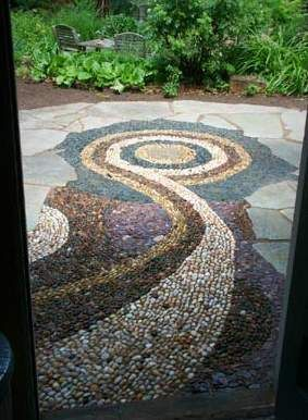 Stone Patio Design Ideas some backyard patio design ideas are a circular stone patio with wooden furniture backyard patio Unique Patio Design Features Stone Mosaic And Flagstone