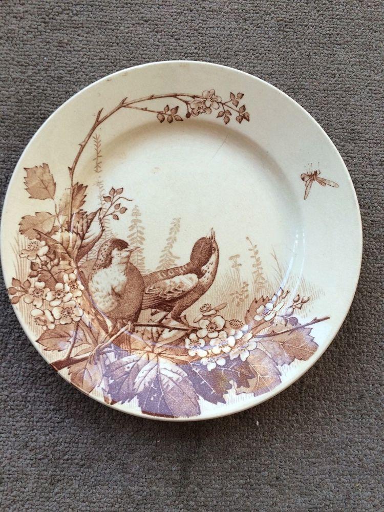 ANTIQUE TRANSFERWARE BROWN PLATE GORGEOUS BIRDS MOTIF FRENCH J.V. C BORDEAUX & Antique transferware brown plate gorgeous birds motif french j.v. c ...