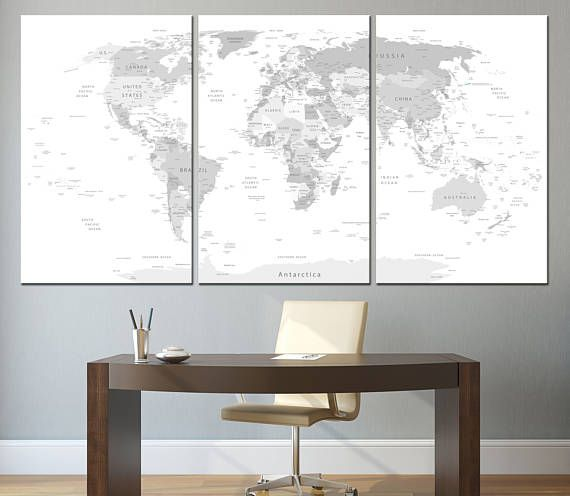 Large world map wall art with countries names canvas printextra large world map wall art with countries names canvas printextra large grey world map home decor world map canvas print ready to hang gumiabroncs Image collections