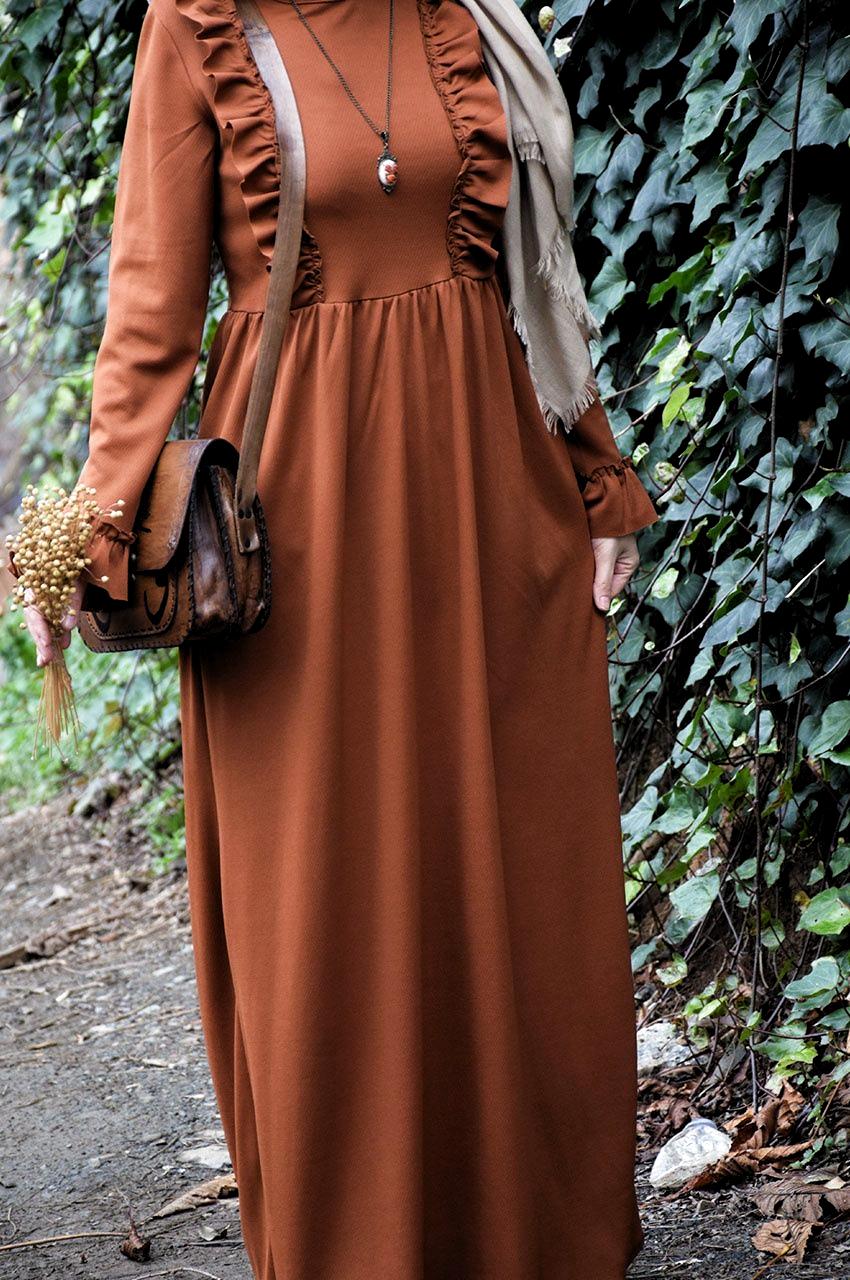Fırfırlı Tarçın Renk Elbise, 2020 | Islami giyim, Kadın ...