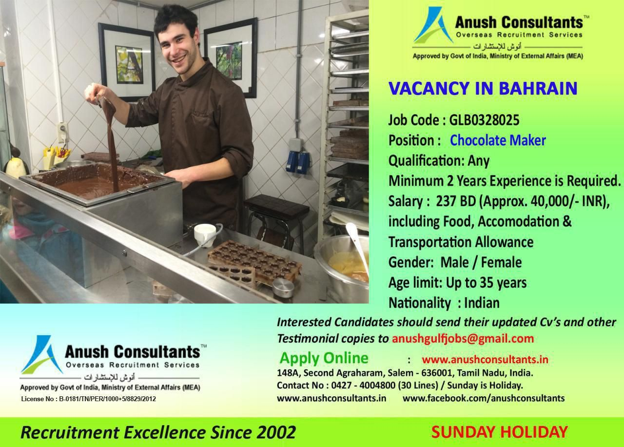 Chocolate maker vacancy in bahrain required chocolate