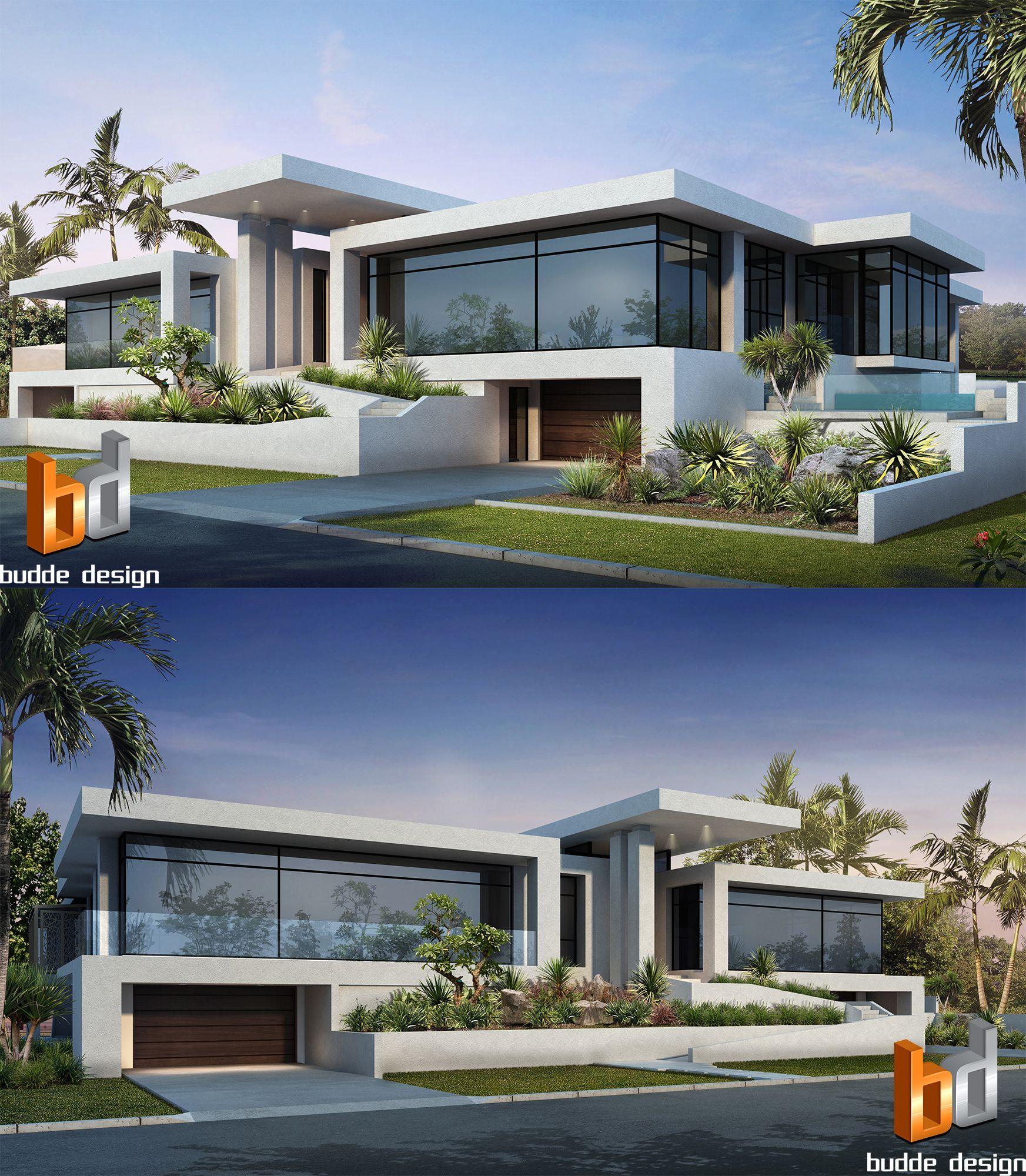 3D Rendering Front Facade Of A Luxury Home. Anglers