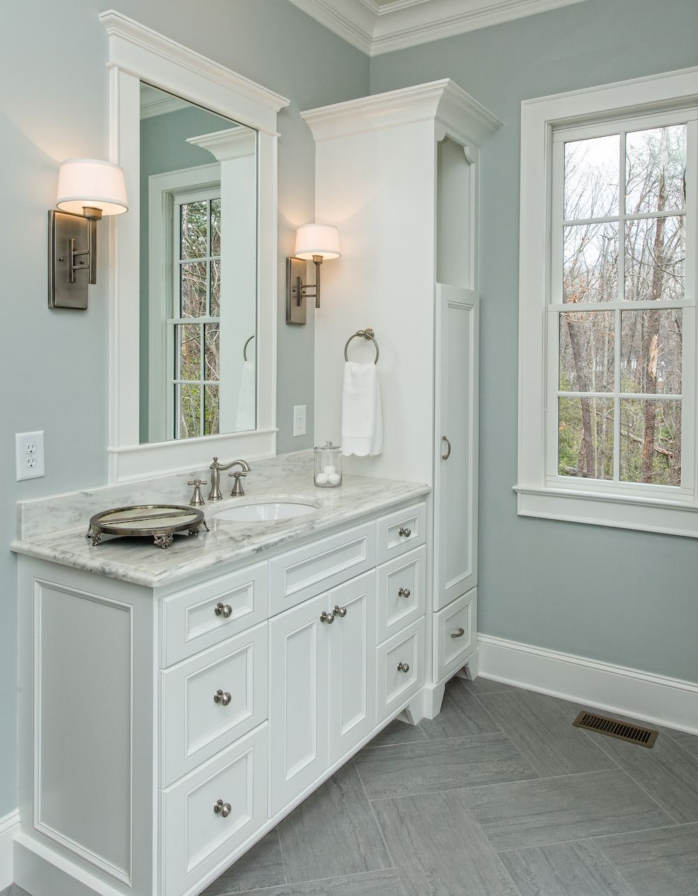Beautiful master bathroom complete with his and hers - Beautiful bathroom vanity furniture ...