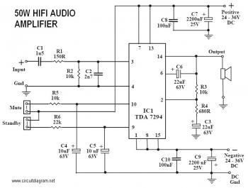 50w power amplifier with ic tda7294 circuit diagram electronic rh pinterest com