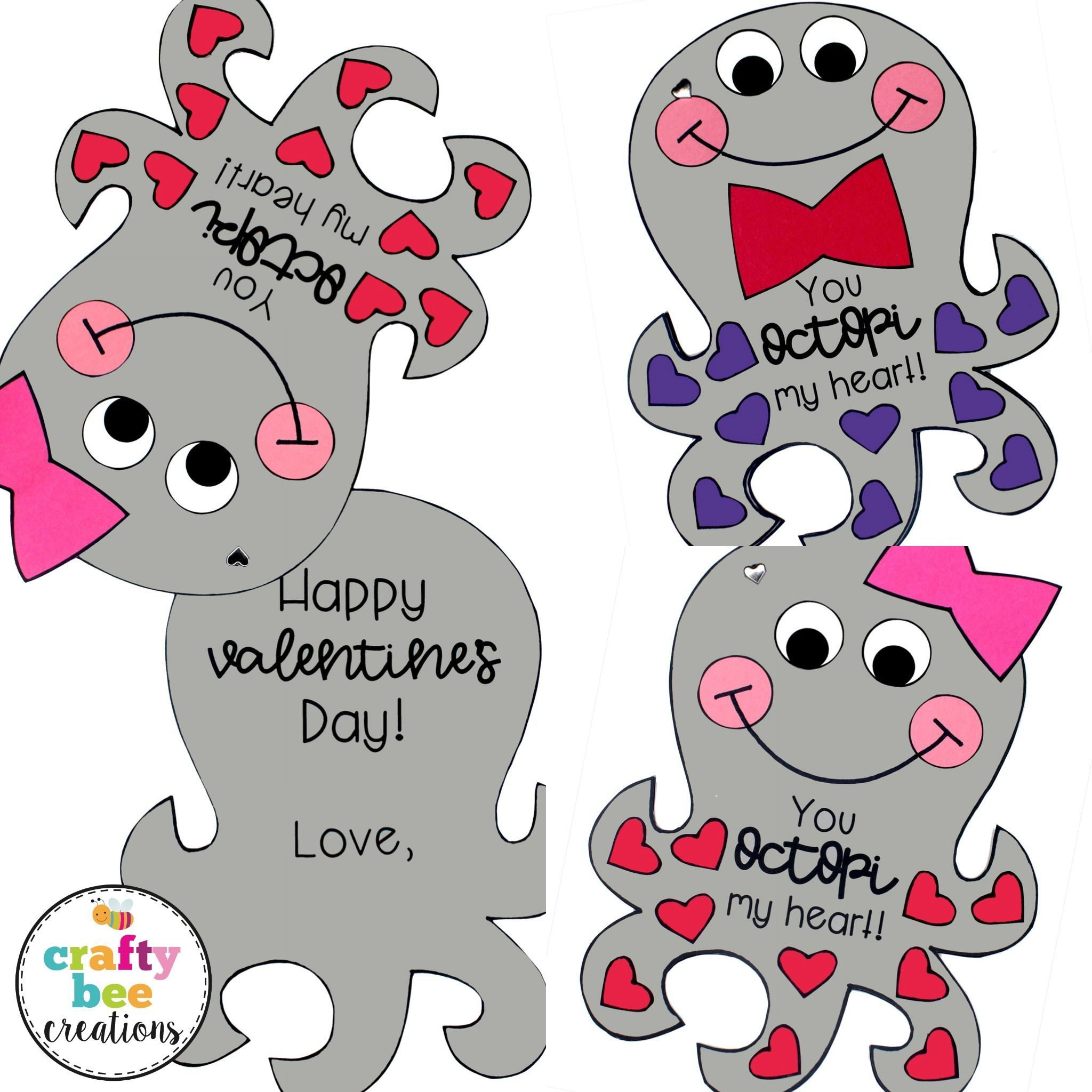 You Octopi My Heart Valentine Day Card.  A fun craft for your classroom for your kids to give to a family member of friend.