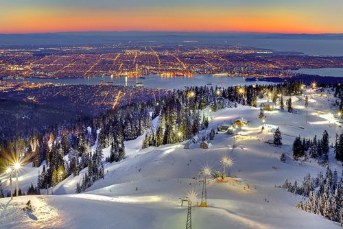 This Is Night Skiing On Grouse Mountain With Vancouver Down Below What An Adventure