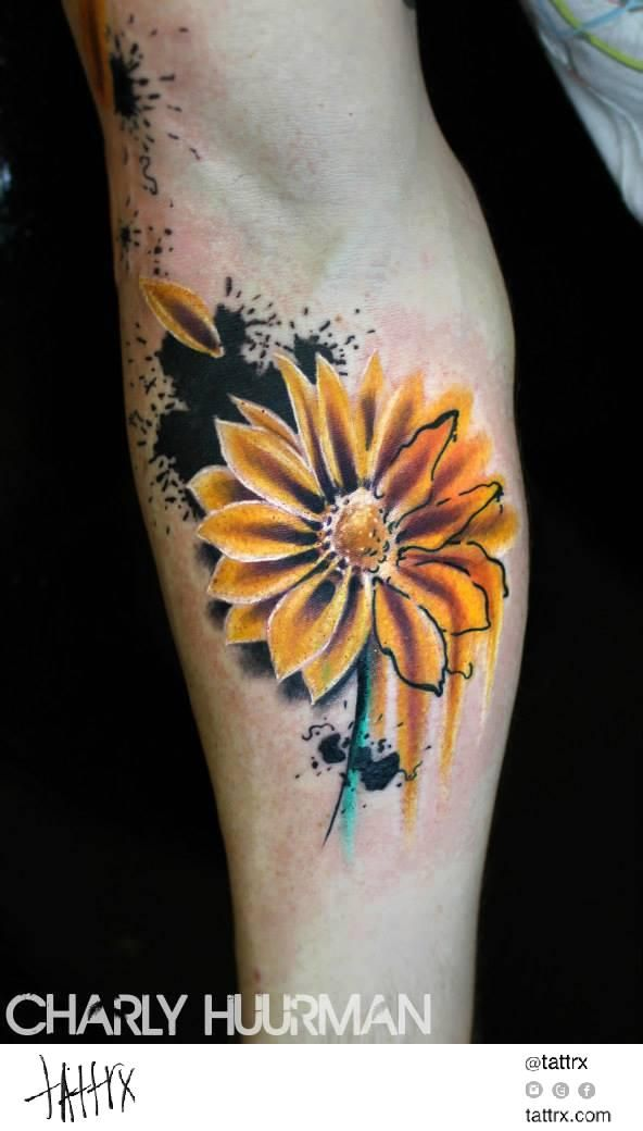 Yellow Daisy Tattoo: Pin On Abstract/Watercolor Tattoos