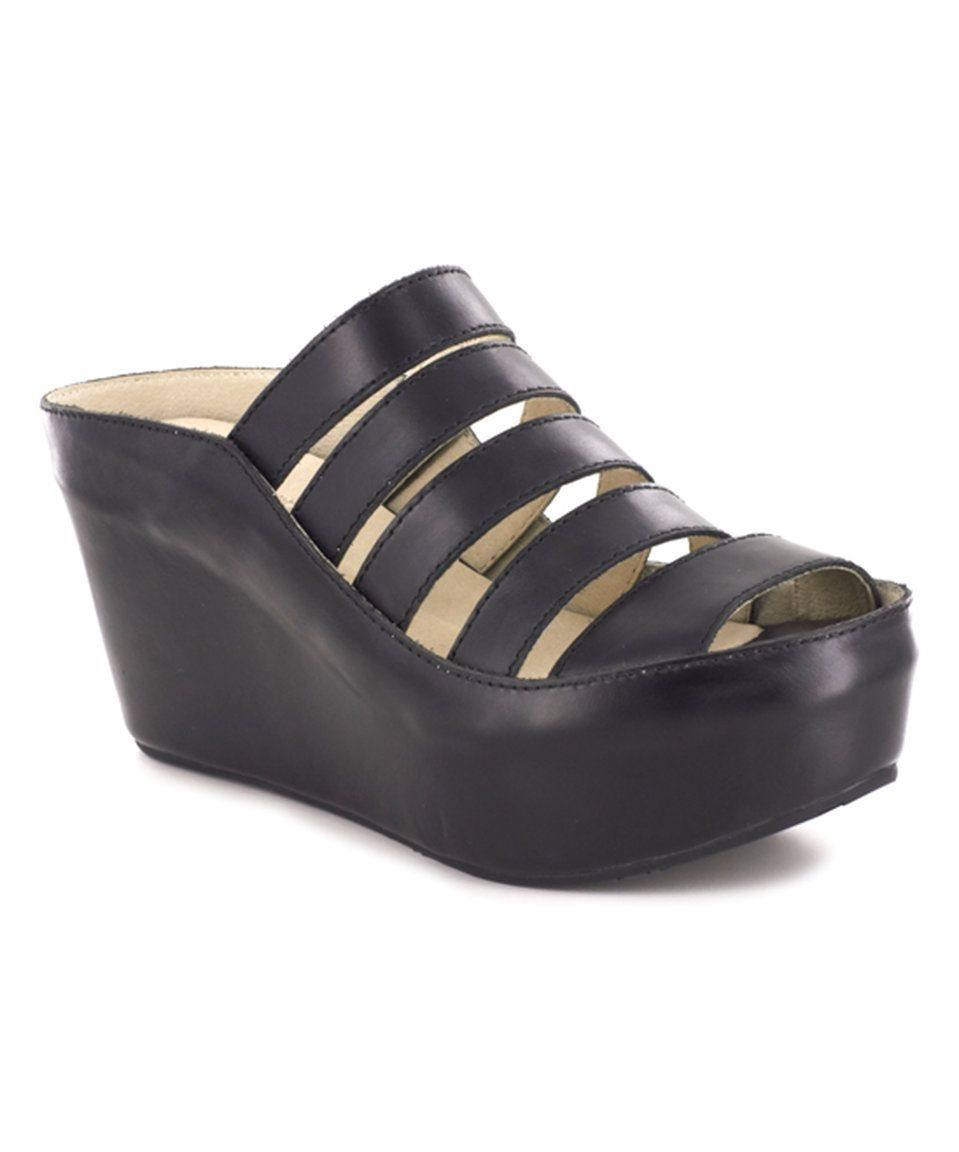 ab95a17833e1 Take a look at this Chocolat Blu Black Leather Walker Wedge Sandal today!