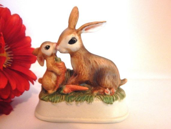 Mother And Baby Bunny Rabbit Porcelain Figurine Vintage Brown Rabbits Spring Easter Home Decor Mother S Day