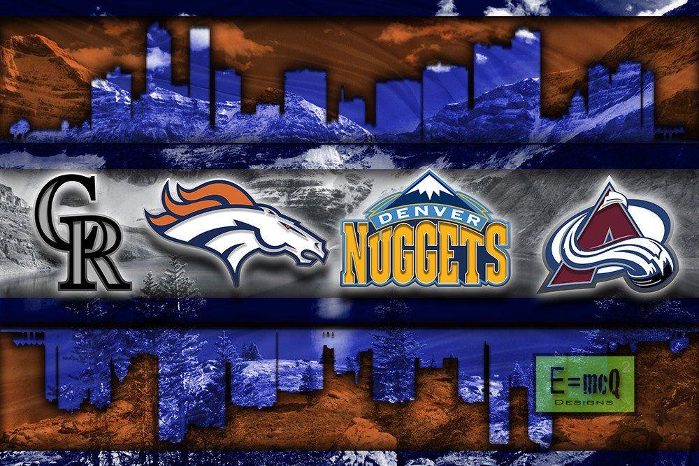 more photos d9247 e0f77 Denver Sports Poster, Denver BRONCOS, Denver NUGGETS ...