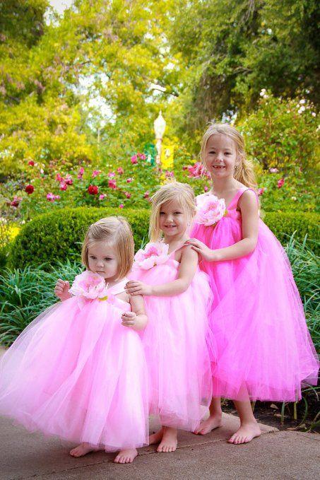 b1f11e23c Amazon.com  Flower Girl Dress Pink Tulle Wedding Dress for Little ...