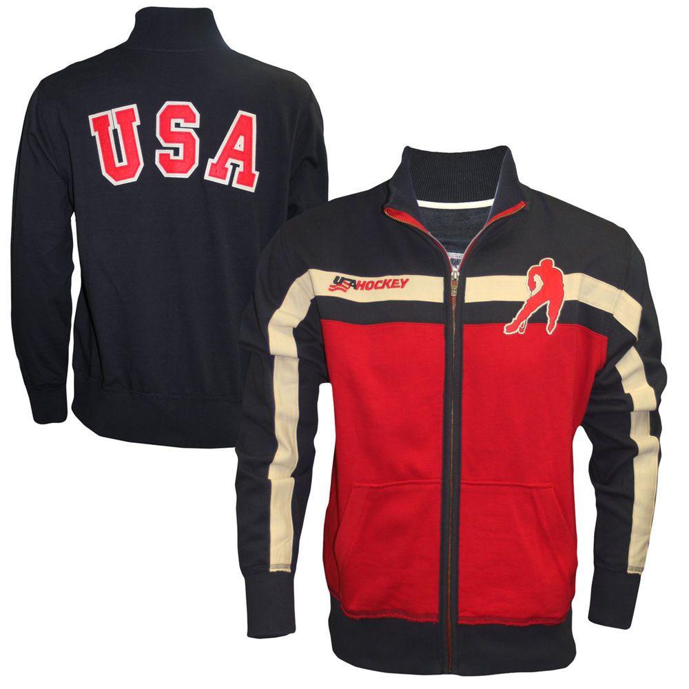 Old Time Hockey Usa Hockey 2014 Winter Olympics Knight Track Jacket Red Navy Blue Usa Hockey Team Usa Team Usa Hockey