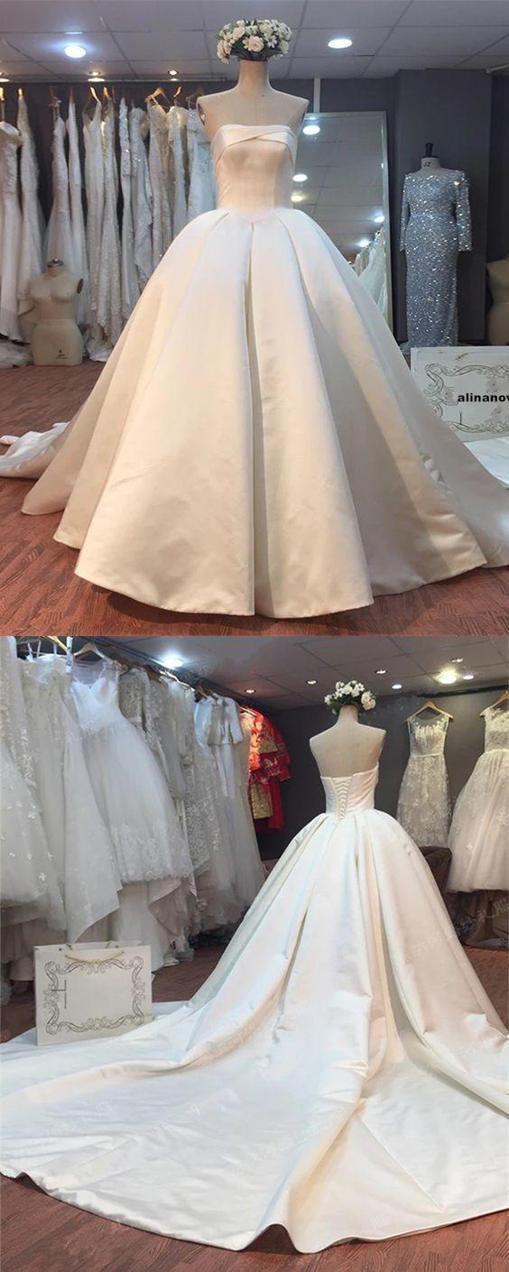 Strapless ball gown satin wedding dress real photo bridal dresses
