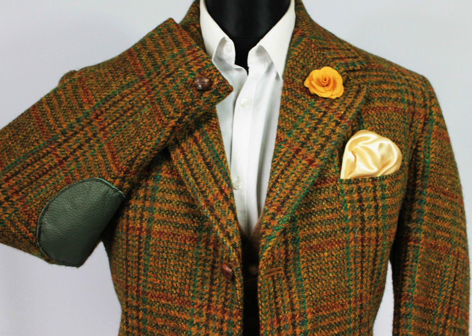 details about mens vintage harris tweed brown windowpane