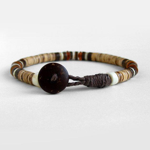 Mens beaded bracelet, coco, brown, baltic amber bracelet, bone, buttoned clasp, Safari