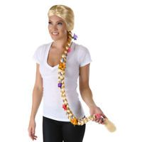 Long Blond Braided Flower Wig Rapunzel Womens Tangled Fairytale Adult