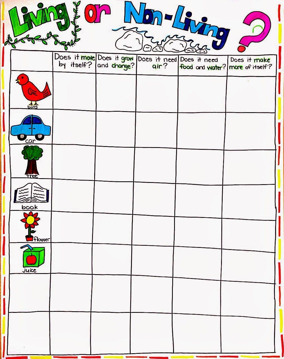 worksheet Living And Nonliving Worksheets 1000 images about living or non on pinterest charts common cores and literacy