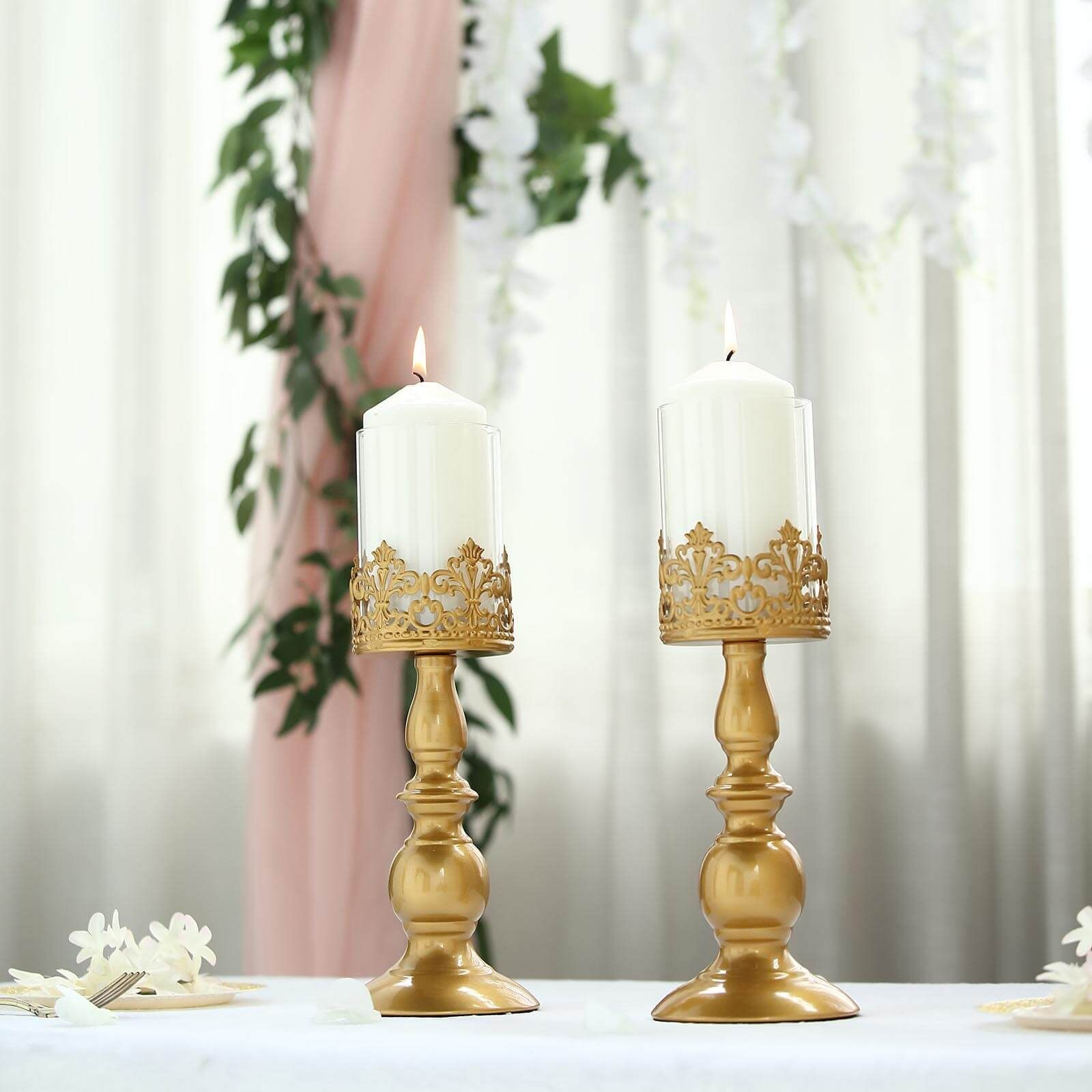 Set Of 2 12 Tall Lace Design Gold Amber Hurricane Glass Candle Holder Set With Glass Tube In 2021 Glass Hurricane Candle Holder Glass Candle Holders Candle Holders