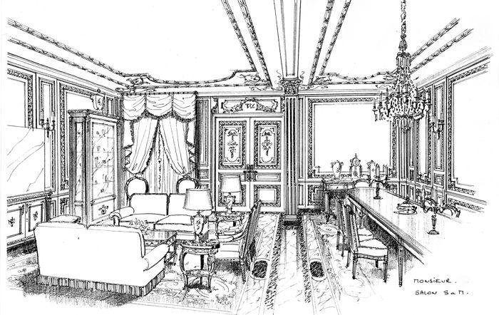 projet de d coration d 39 int rieur pour un salon salle manger d 39 un palais boiserie et mobilier. Black Bedroom Furniture Sets. Home Design Ideas