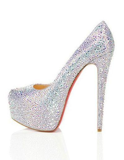67a7e0f4623 Sparkling Colorful Rhinestone 4 3/4'' High Heel Fashion Shoes-Shoes ...