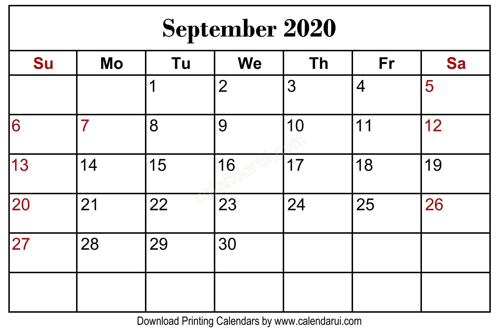 September 2020 Blank Calendar Printable Free Download Blank