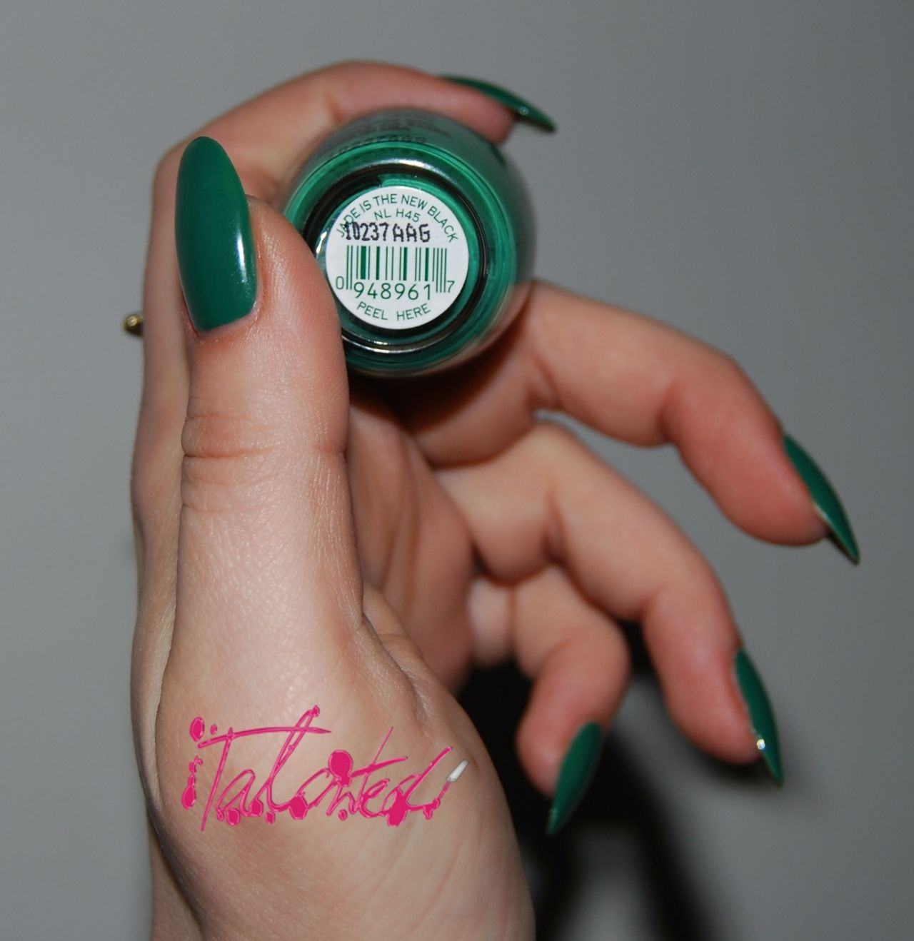 Swatch - OPI 'Jade Is The New Black' nail varnish http://talontedlex.co.uk/post/21792311476/swatch-opi-jade-is-the-new-black-this-is-one