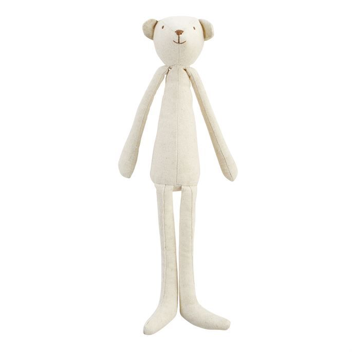 Tall linen woodland animal pal features facial feature embroidery. Tall Skinny Bear Plush Pal, Cream