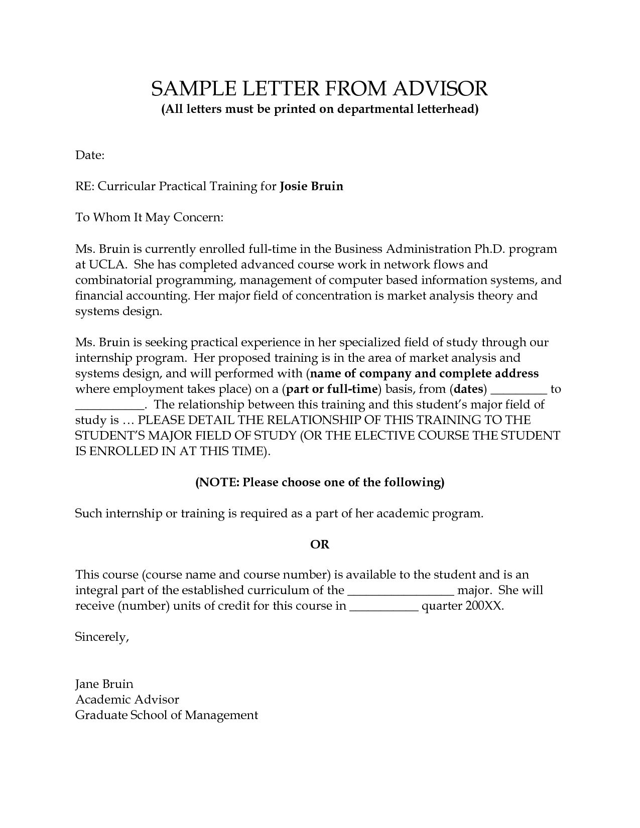 Cover letter sample academic advisor appeal letters throughout professional reference letter template sample with lucy cover letters academic advisor and weaknesses resume recommendation for scholarship expocarfo Choice Image