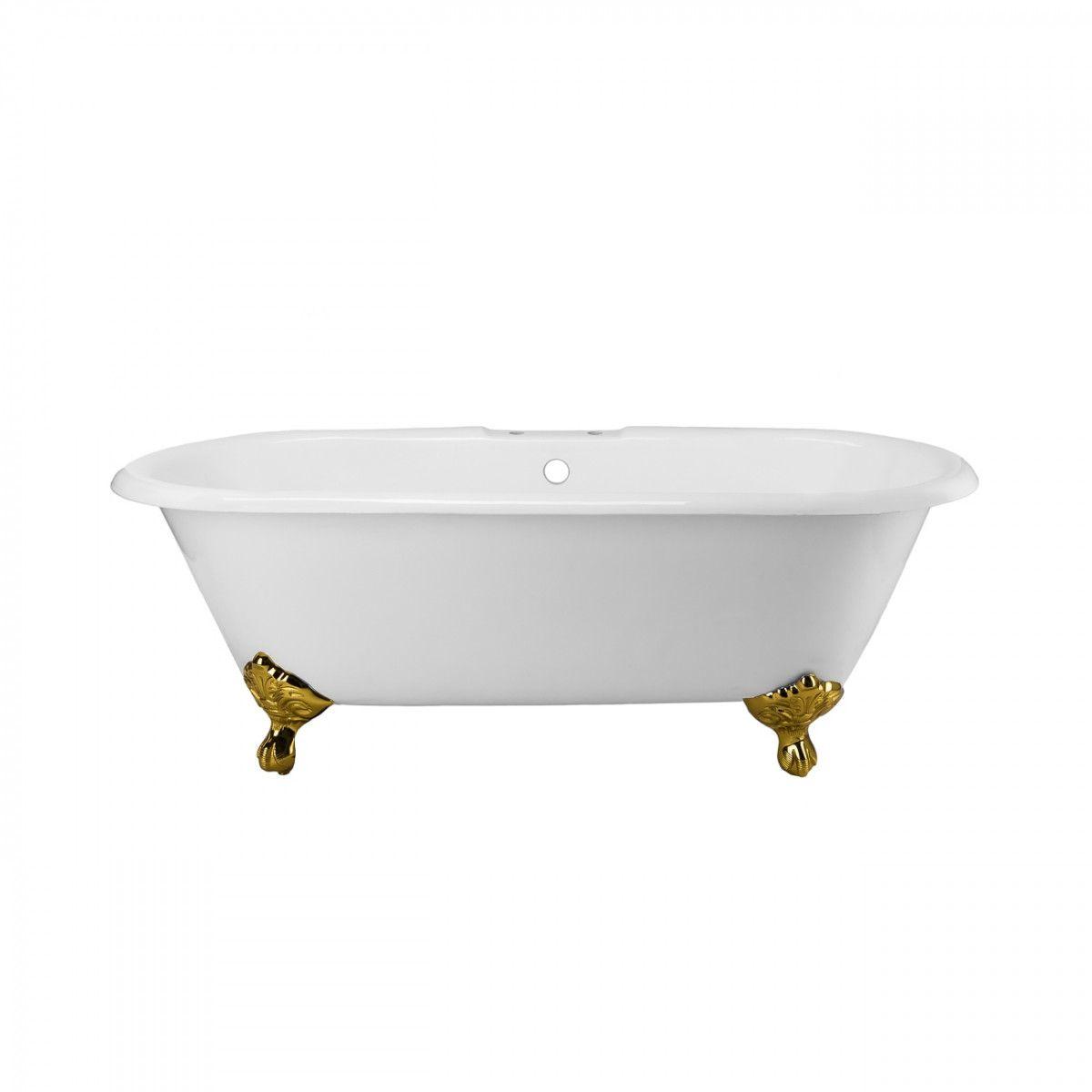 Cambridge Cast Iron Double Ended Clawfoot Tub Rim Faucet Drillings Soaking Bathtubs Bathtub Clawfoot Tub