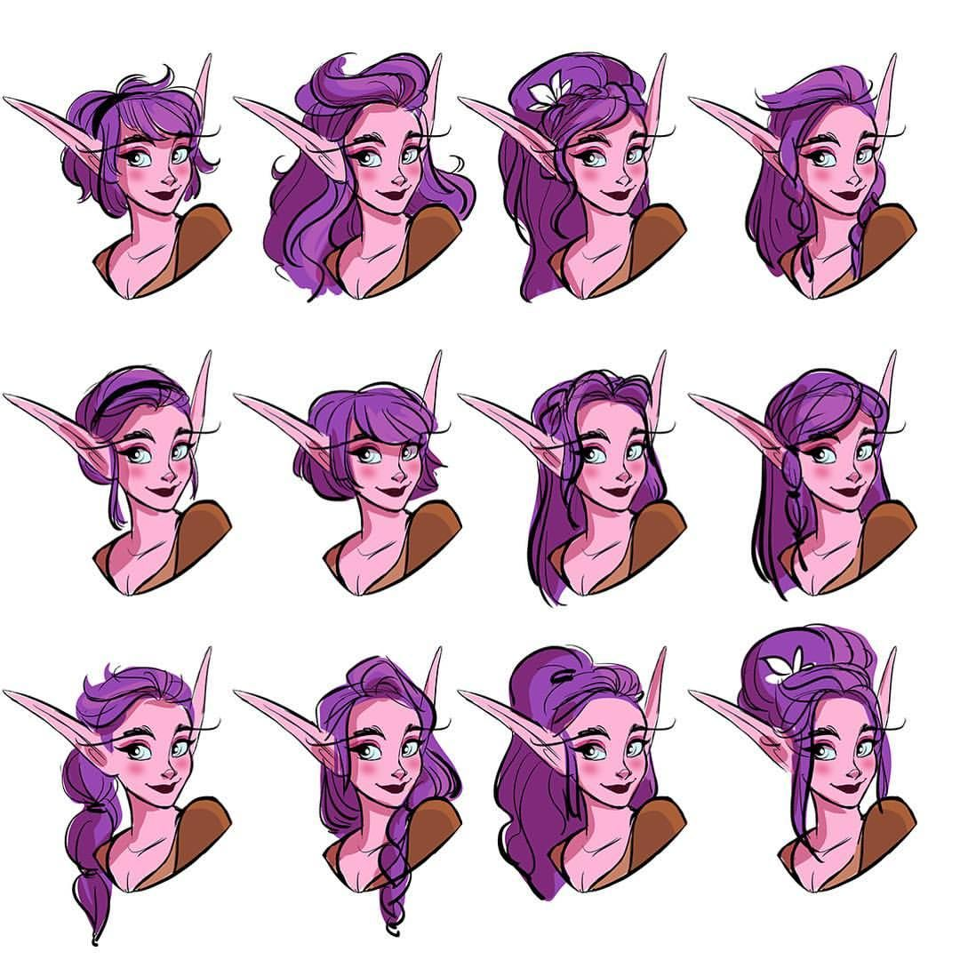 Some Night Elf Hair Doodles Gimme More Styles Worldofwarcraft Elf Drawings Character Design Drawings