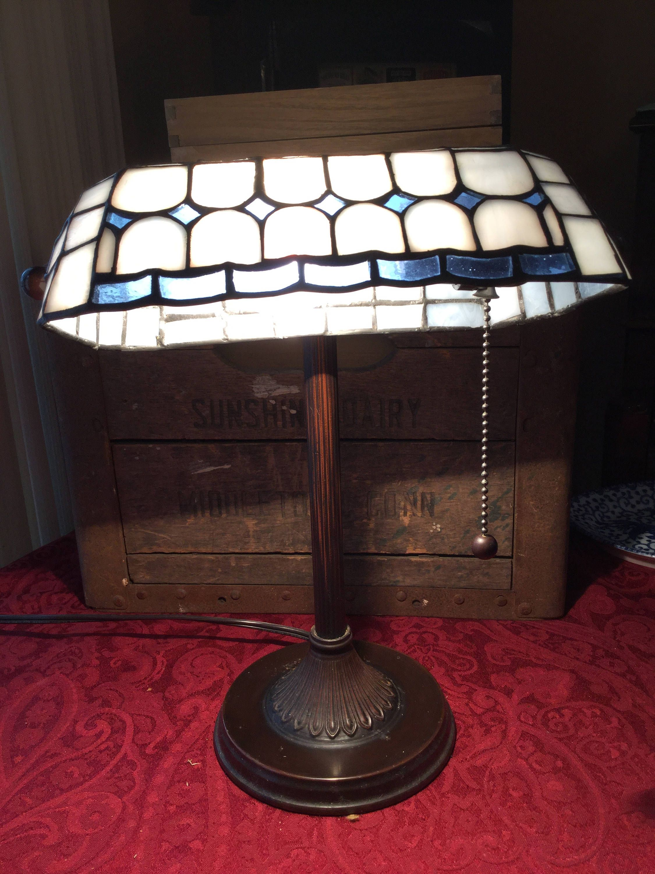 Vintage Leaded Glass Tiffany Style Blue and White Desk Lamp by SunshineVintageGoods on Etsy