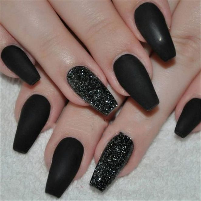 34 Want To Know More About Matte Black Coffin Nails Short 2 Black Nails With Glitter Black Acrylic Nails Matte Nails Design