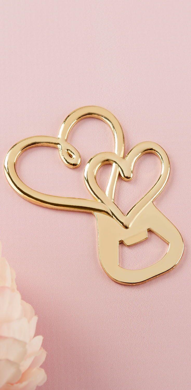 Gold Double Heart Bottle Opener   Bottle opener, Favors and Kate aspen