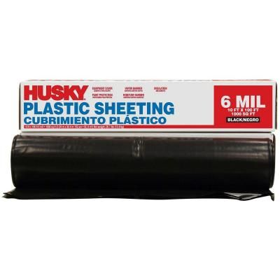 Husky 10 Ft X 100 Ft Black 6 Mil Plastic Sheeting Cfhk0610b At The Home Depot Plastic Sheets Home Depot Plastic