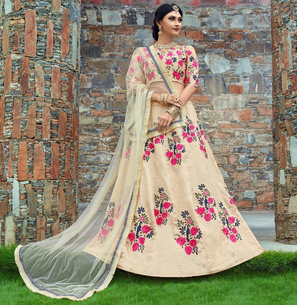 0fc94c3706 Cream Art Silk Designer Embroidered Lehenga Choli (Semi-Stitched ...