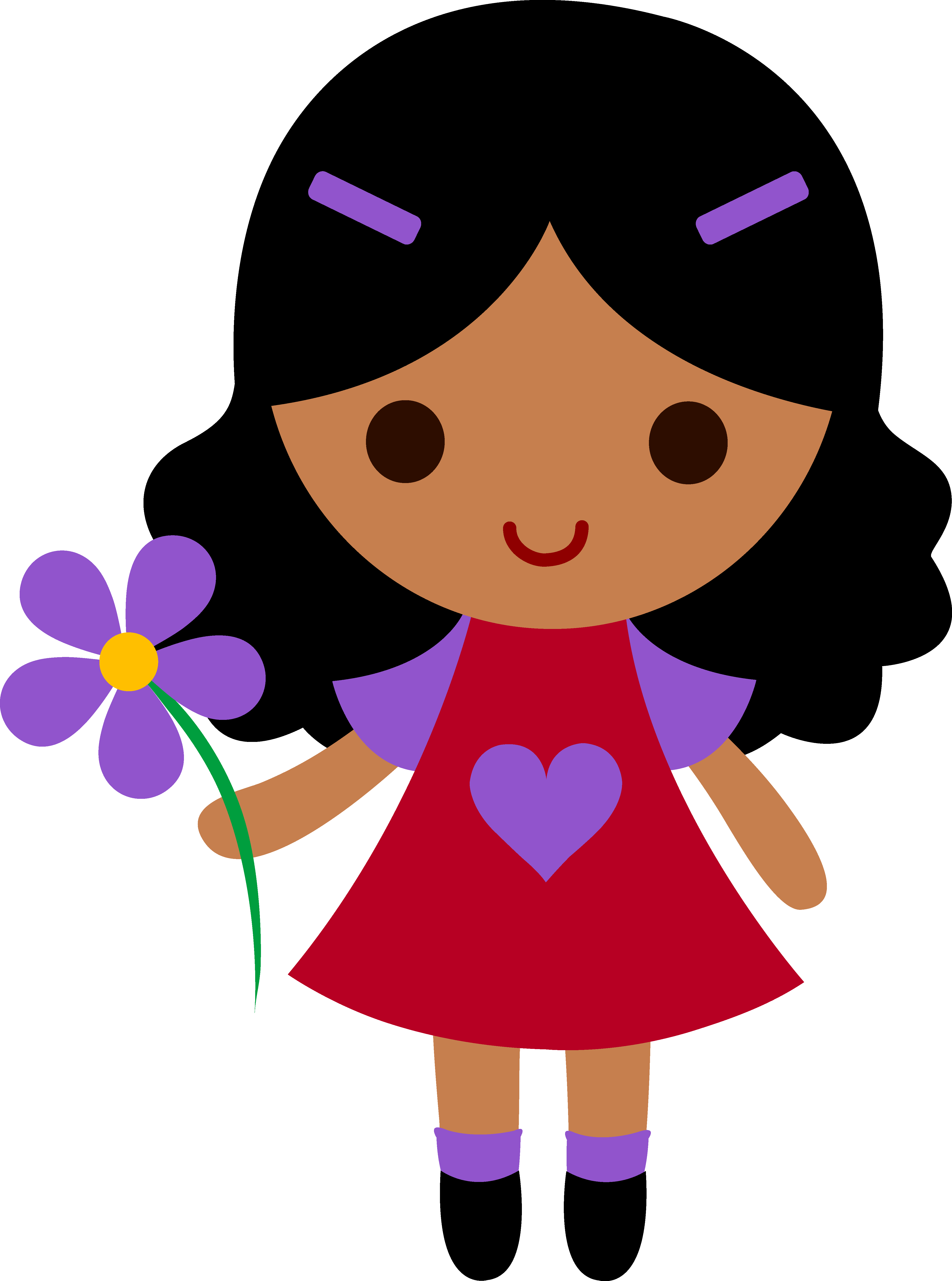 hight resolution of my clip art of a little girl holding a purple flower