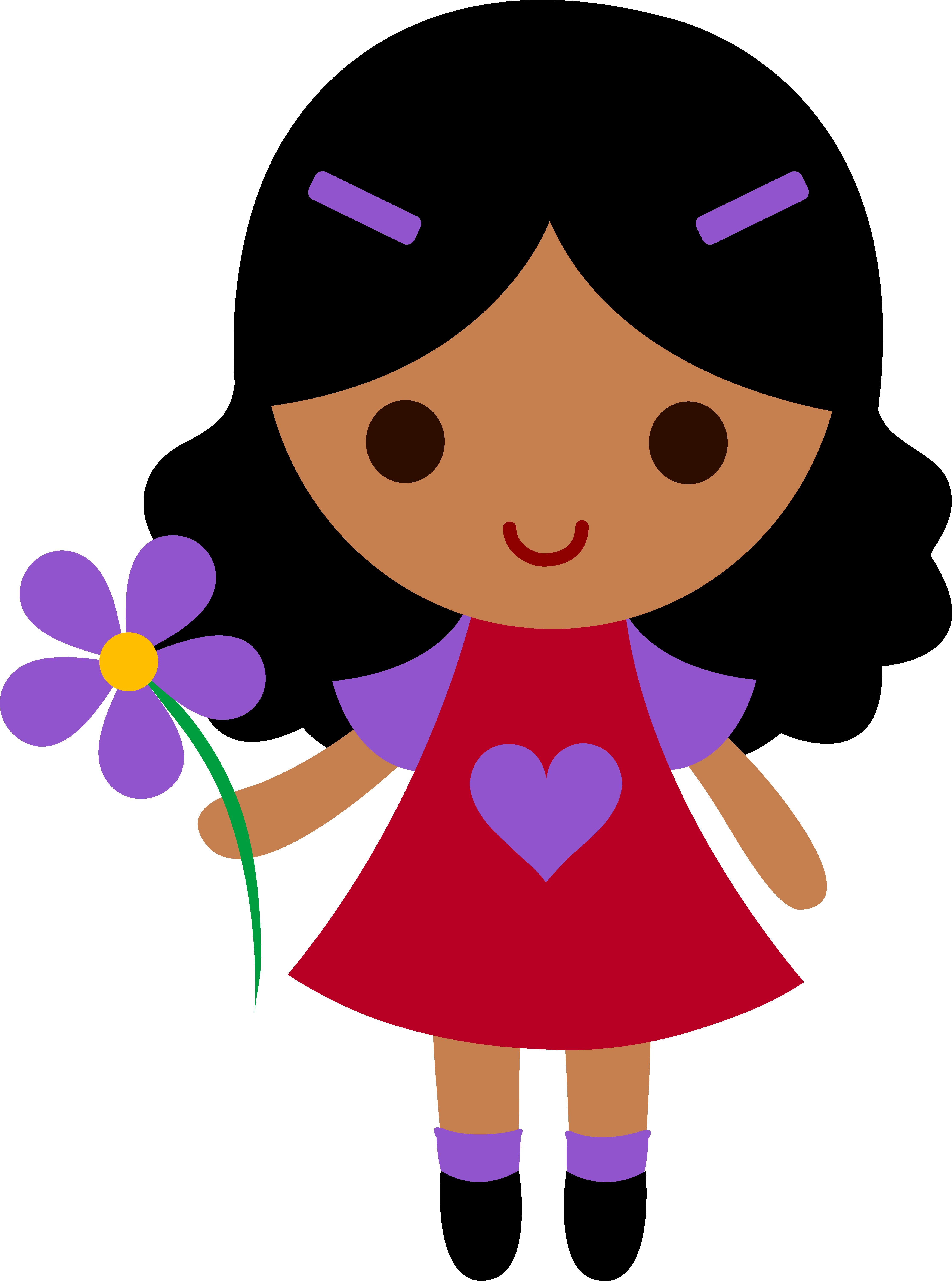 my clip art of a little girl holding a purple flower [ 4451 x 5988 Pixel ]