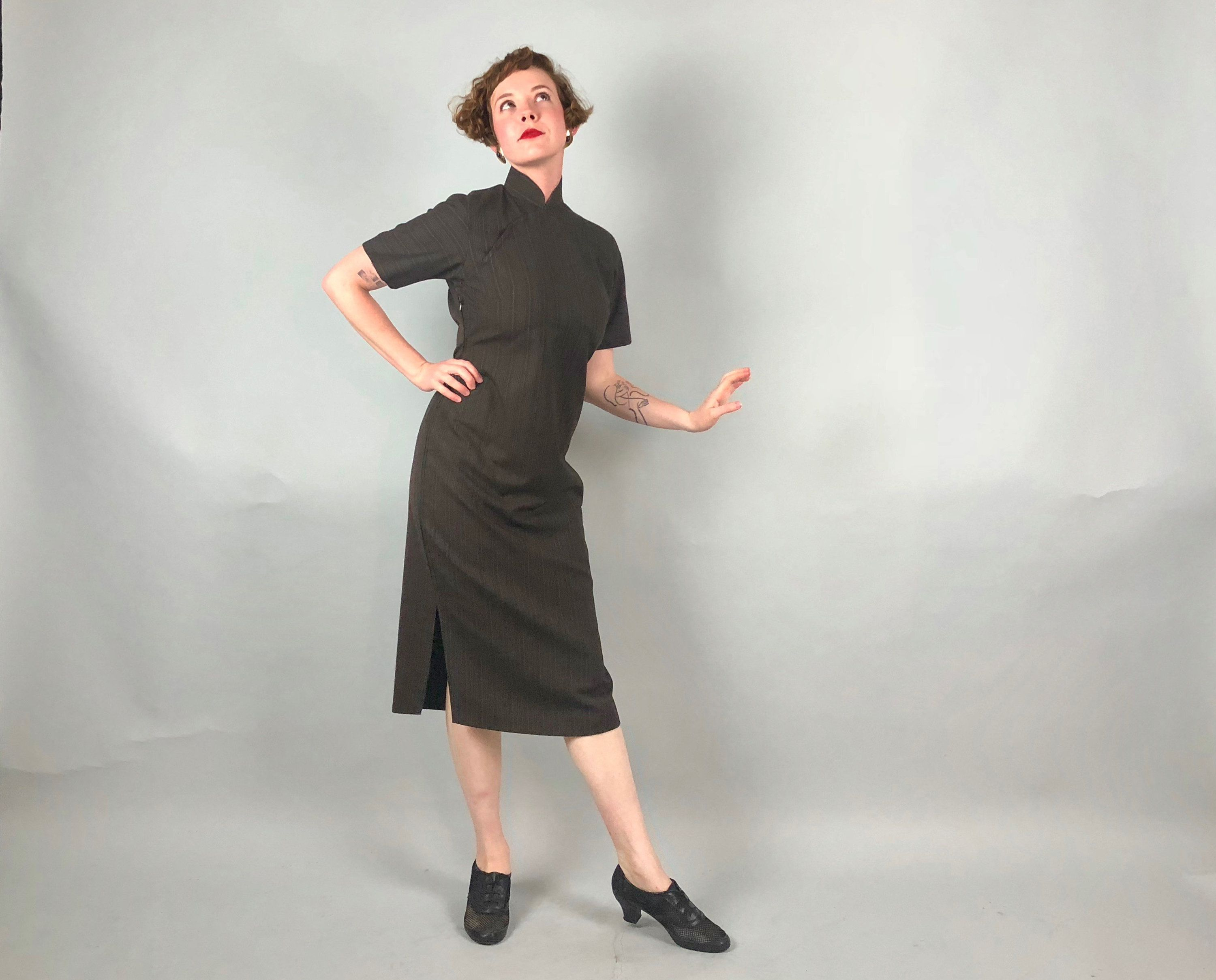 Vintage 1950s Dress | 50s Menswear-Inspired Dark Chocolate Brown and ...