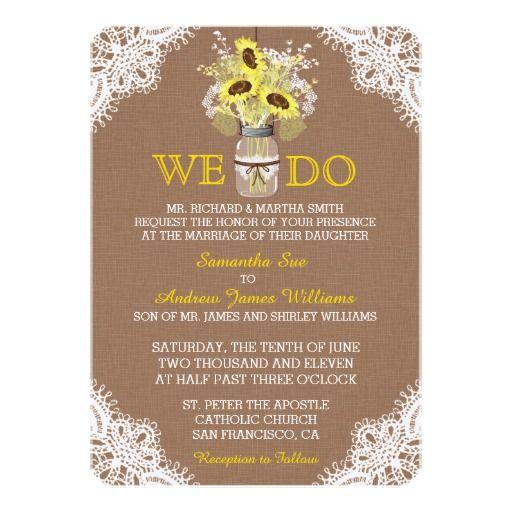 Rustic Sunflower Mason Jar Lace Wedding Invitation