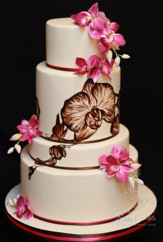 Orchid Wedding Cake Design   Best Cake Blog Painted ...
