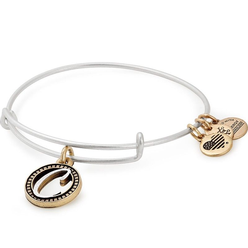 Alex and Ani Initial P Charm Bangle Bracelet Two-Tone