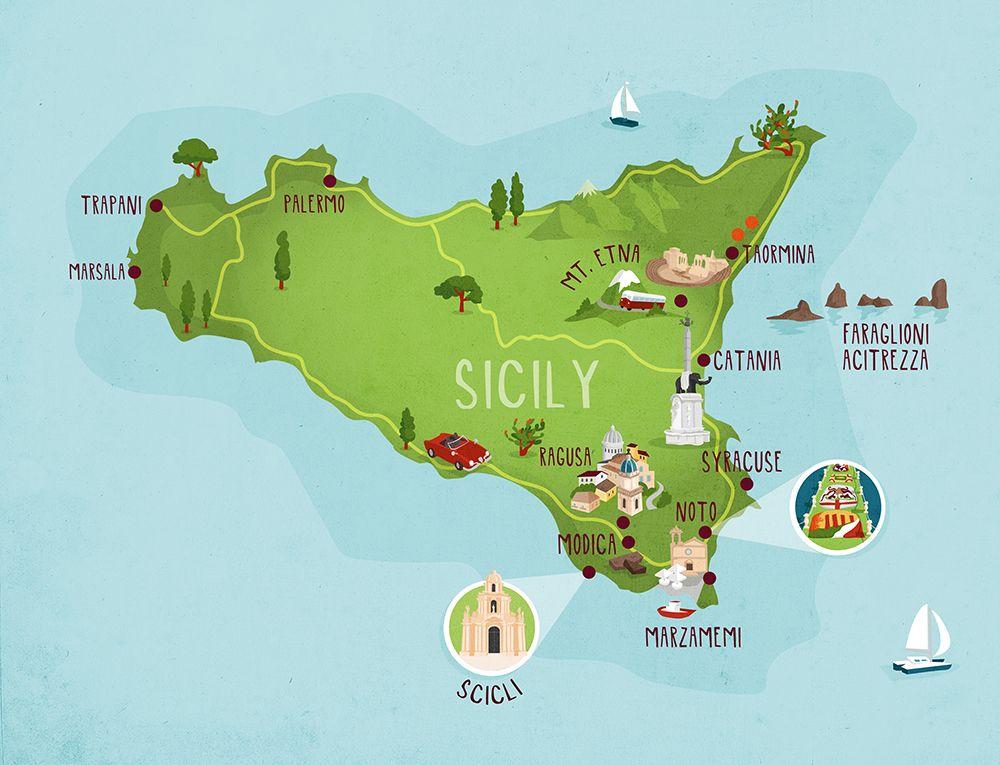 Sicily map illustration Illustrated map