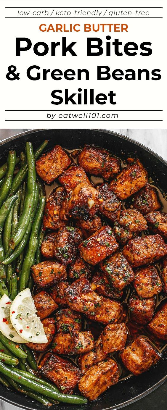 Garlic Butter Pork Bites with Lemon Green Beans