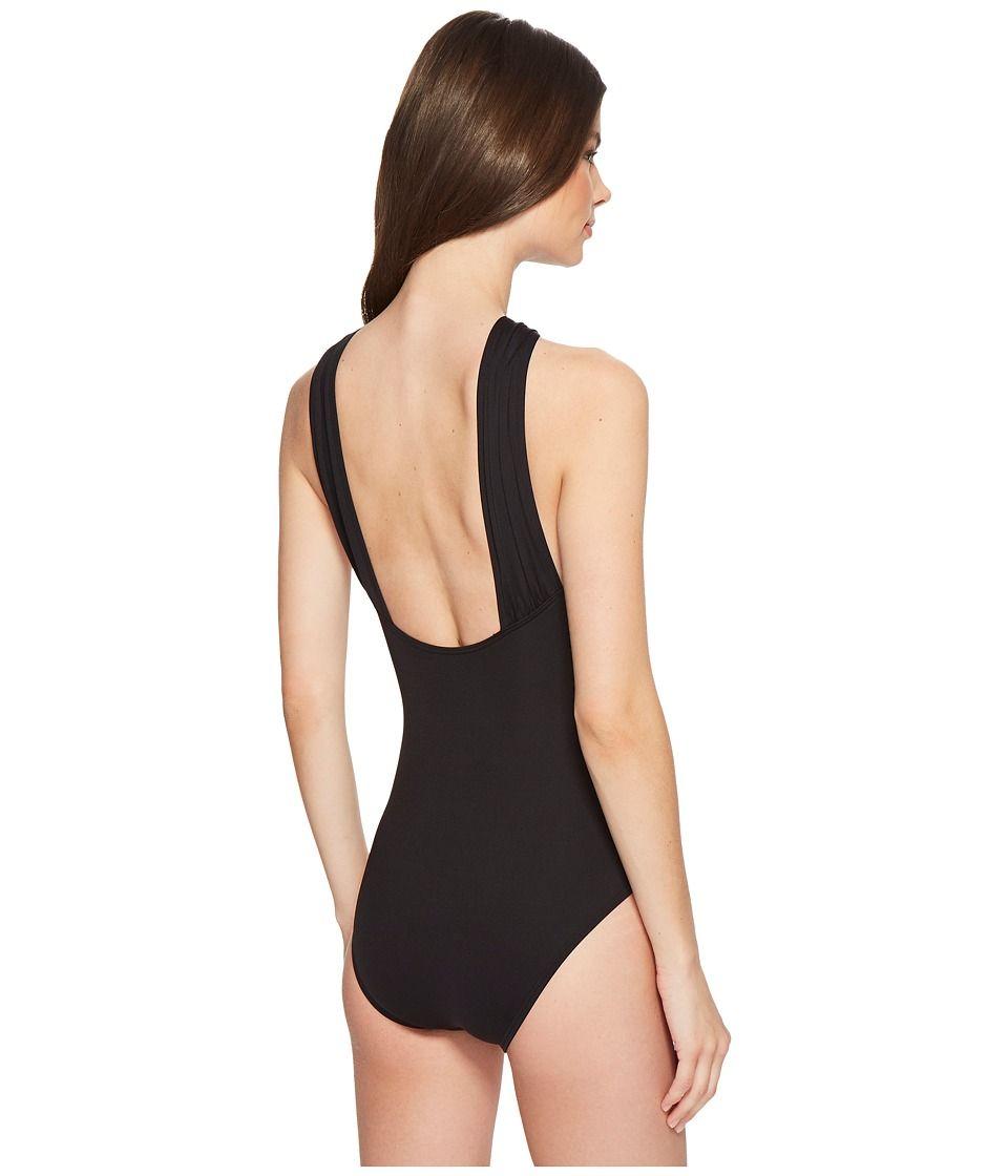 60a5e57e59c3 MICHAEL Michael Kors Iconic Solids Logo Bar High Neck One-Piece Swimsuit w/  Removable Soft Cups Women's Swimsuits One Piece Black