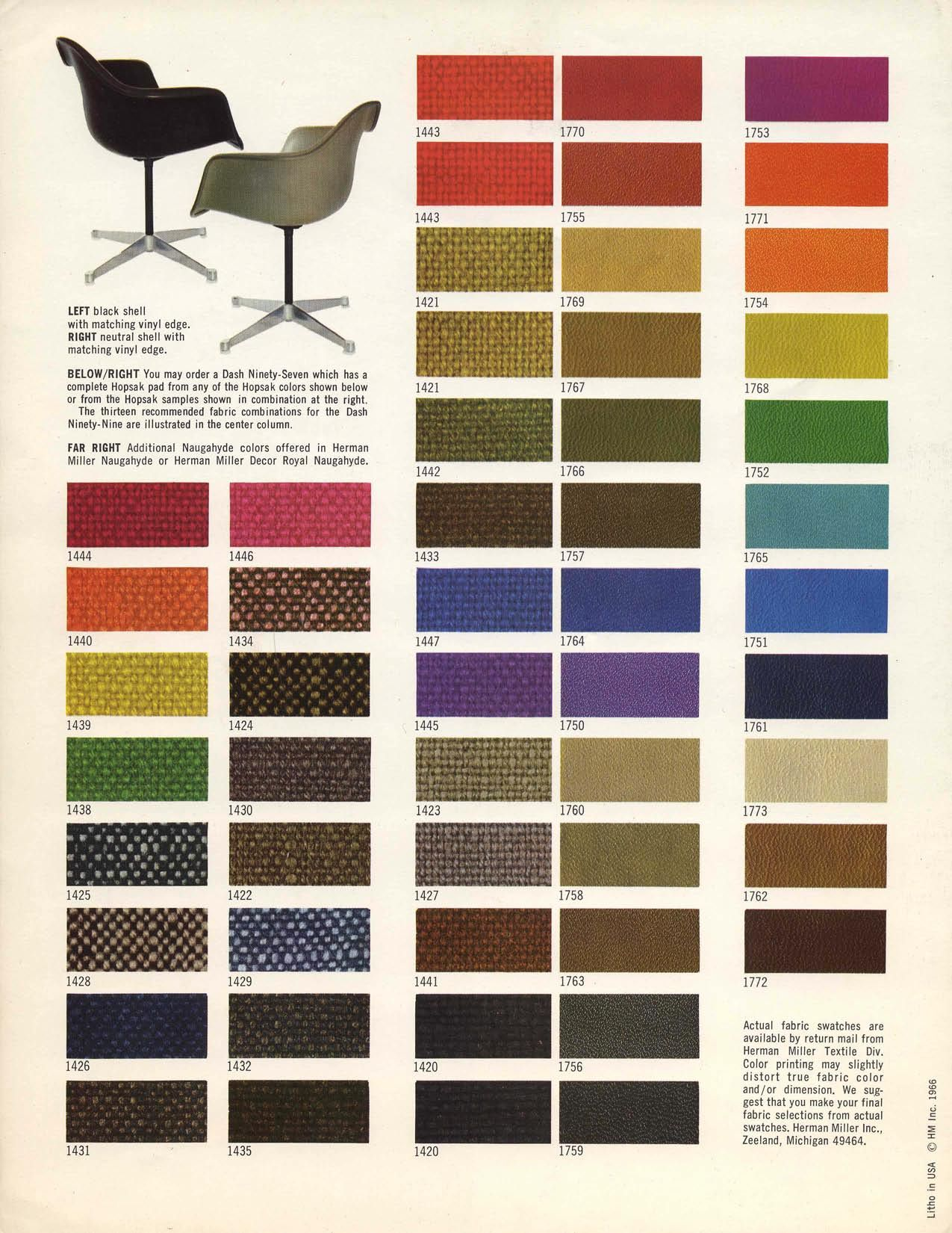 Vintage product literature for classic Eames products, featuring textiles by Alexander Girard