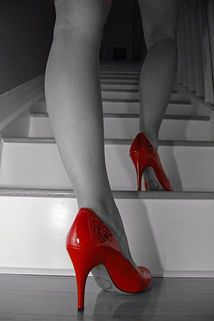black and white with red shoes